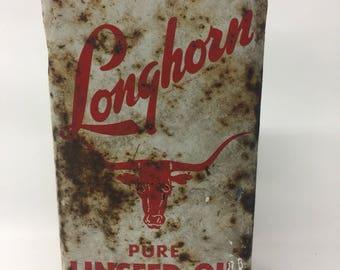Vintage Longhorn Pure Liscensed Oil Can