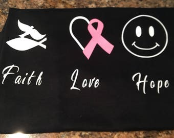 Faith love hope, breast cancer awareness