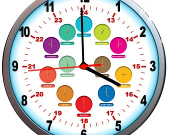 NEW 24hr Wall Clock World Time Zone Twelve - TIME ZONES multi colours