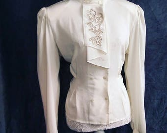 Jacques Vert 1940s style peplum shirt , 80s does 40s Vintage UK size 12