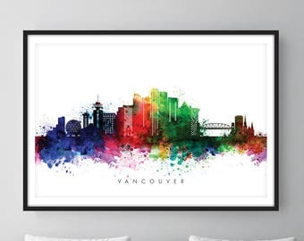 Vancouver Skyline, Vancouver Canada Cityscape, Art Print, Wall Art, Watercolor, Watercolour Art Decor [SWYVR01]