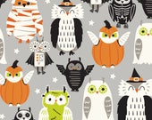 Halloween Owls, Eye of Newt Grey fabric, Costume Party from the Boo Crew Collection designed by Maude Asbury for Blend Fabrics