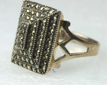 Art Deco Layered Marcasite Sterling Silver Ring Size:P-7 1/2