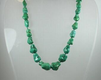 Boho Style Silver Afgani Turquoise Beaded Necklace