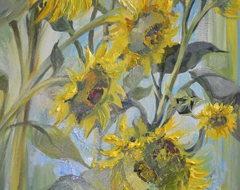 Painted Original oil painting,Flower Oil Painting,Sunflower,Wall Pictures Art for living Room Home Decor