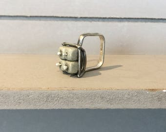 Asymmetric, square, silver ring with pyrite