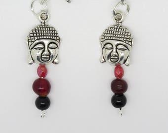 PAIR of EARRINGS or CLIP ear breakthrough gift MOM, girlfriend, for self same Buddha head.