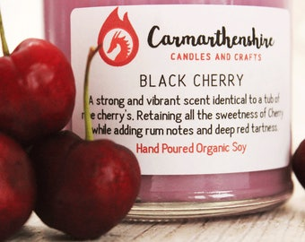 Black Cherry Scented Candle, Organic Soy Candle, Valentines Gift, Gifts For Her, Valentine's Day, Amaretto Scented Candle, Fruit Candle