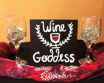 Wine Goddess Wood Sign - 7in x 1in x 7in - Wine Decor - Housewarming Gifts - Wine Centerpiece - Gifts Under 20 - Wine Kitchen Decor - Gifts