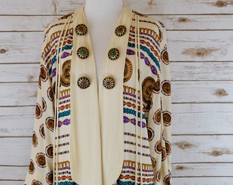 Vintage Rayon Open Front Blouse