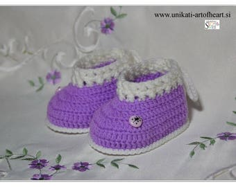 Crochet Baby Shoes / Girls Shoes / Purple Shoes / Gift for Baby Girl / Crochet Baby Sneakers / Newborn sneakers / Crochet Baby Slippers