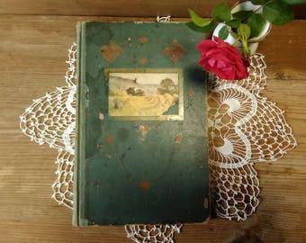 Antique photo album, Old photo album, Green old album, Original photo album, Collectible item