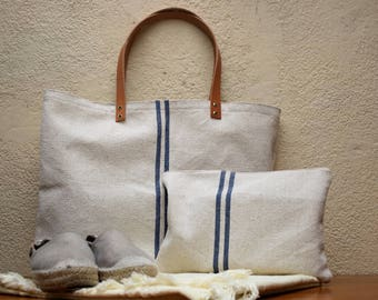 linen bag, linen bag natural leather, linen leather bag handles