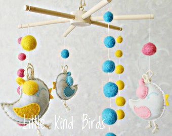 Baby mobile Baby crib mobile Unique mobile Nursery mobile Ceiling mobile Nursery decor Felt nursery mobile hanger Birds mobile Ecology decor