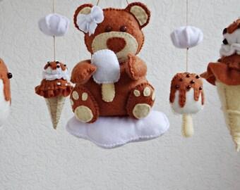Baby mobile Lovely Bear Cub Baby crib mobile Ceiling mobile Felt mobile Nursery decor Felt nursery mobile Ecology decor Modern baby mobile