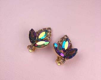 Iridescent Rhinestone Earrings   Rainbow Rhinestones   Clip On   Vintage