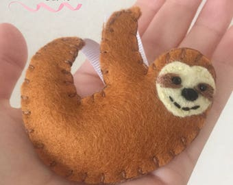 Hanging sloth felt decoration/ornament. Christmas tree or home decor, gift tag, party bag.