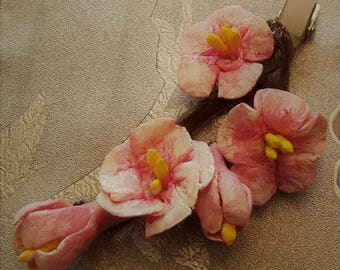Hair Pin Bobby Pin Barrette Cherry Blooming Flower Pink