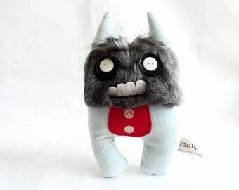 """Stuffed Monster """"Bibmon"""" mon mons Plush monster Upcycled"""