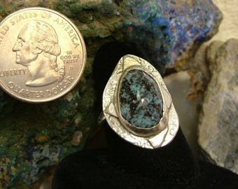 Turquoise Ring Sterling Silver Large Boho OOAK Natural Blue and Black Quality Utah Deposit Picture Turquoise Size 8 Statement Ring    201G