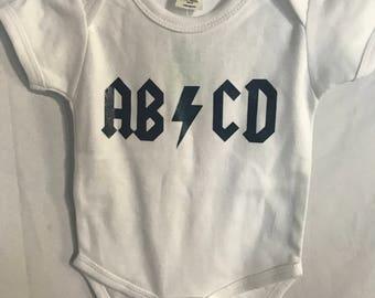 AB-CD onesie. ACDC. Funny baby onesies.