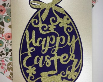 Giant Easter Egg - Cut-out Typography -  Handmade Easter Card