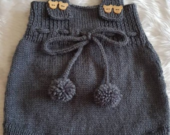 Beautiful hand knitted baby dungarees set
