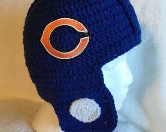 Crochet Helmet hat for kids Chicago Bears
