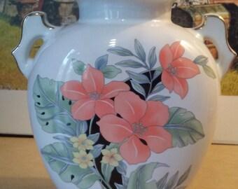 Vintage Japanese Oriental Floral Vase Gold Trim