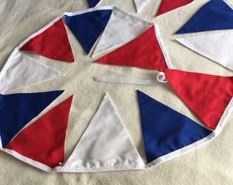 Handmade Red White & Blue Bunting