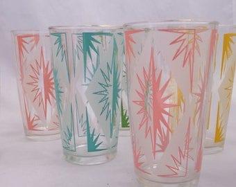 Vintage 1950s Atomic Mid Century Modern Starburst Glasses Set of 7