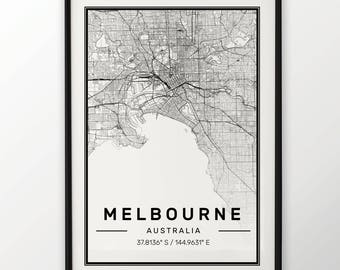 Melbourne City Map Print, Modern Contemporary poster in sizes 50x70 fit for Ikea frame 19.5 x 27.5 All city available London, New York Paris