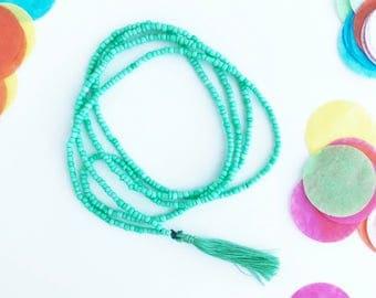 Beaded Tassel Necklace | Sea Foam
