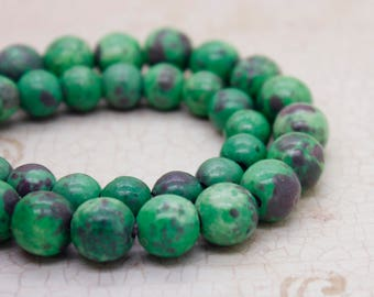 "Green Jasper Smooth Round Gemstone 8mm 10mm Beads (8"" strand - 2.5 mm hole)"