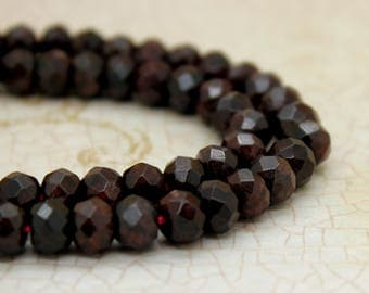Garnet Rondelle Faceted Gemstone Beads