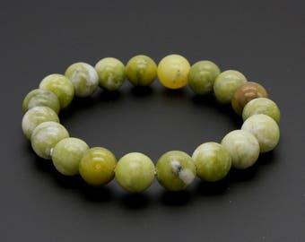 "Green Lemon Jade Pattern Gemstone Beads Size 10mm. Length 8"" Semi-Precious Gemstone Elastic Cord Bracelet Accessories"