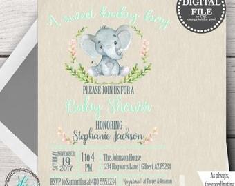 Elephant Baby Shower Invitations, Elephant Baby Shower Invites, Baby Shower Elephant Template, Elephant Baby Shower Template Invite Download