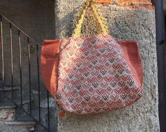 Red and orange brocade fabric tote bag