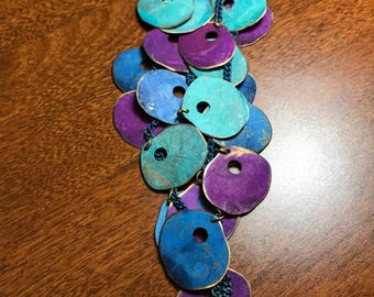 Vintage Colorful Metal Disk Necklace and Earring Set