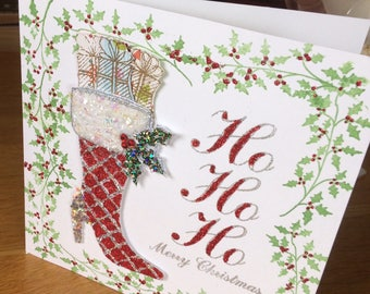 first of my Christmas cards featuring a sparkling, red, high-heeled boot