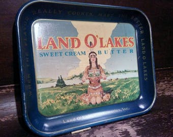 Land O Lakes, Vintage LandOLakes tray, Indian Maiden advertising tray, Kitchen decor, vintage wall hanging, serving tray