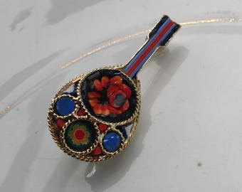 Vintage Mosaic mandolin brooch 1960s