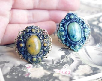 turquoise ring, mustard ring, baroque, boho rings,ova ring, artisan rings, women gift ideas - 2 colors : turquoise or mustard