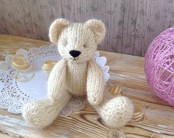 Newborn props, photo props, hand knitted teddy bear, 6 inch soft plush toy, stuffed animals, first birthday gift, softies, knit toy
