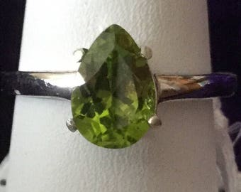 Ring /Pangbai Peridot /Sterling silver / August birthstone /gift