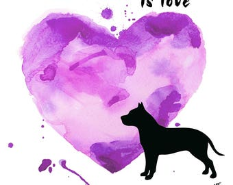 Pit bull print, pit bull art, Love and a Pit Bull, printable pittie art