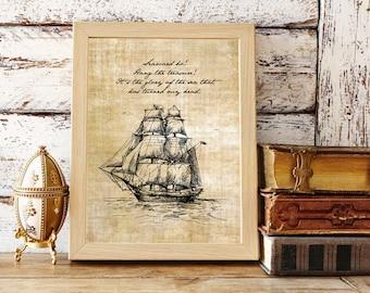 Printable Treasure Island | Robert Louis Stevenson | Seaward Ho | Literary Quote | Instant Download Literary Art | Glory of the Sea Nautical
