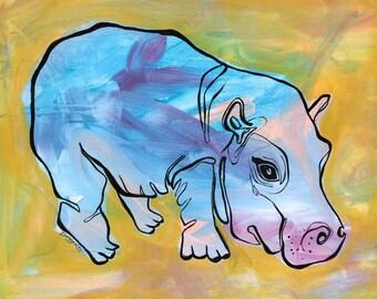 Hippo art, fine art print, hippo print, jungle nursery, child art, baby gift, baby art, nursery art, hippo love, hippopotamus, fiona hippo