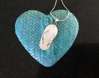 SOLID STERLING SILVER - Mother of Pearl Flip-Flop Jandel Ornate Pendant