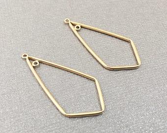 Gold Earrings, Gold Chandeliers, 14k Ear Wires, Earring Findings, DIY, 37mm, EWRS013